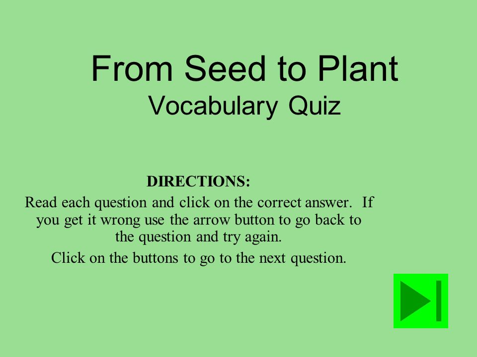 From Seed to Plant Vocabulary Quiz