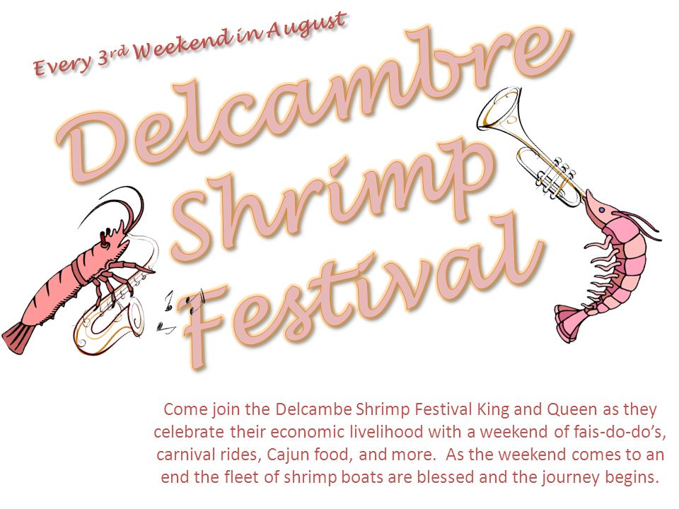 Every 3rd Weekend in August Delcambre Shrimp Festival