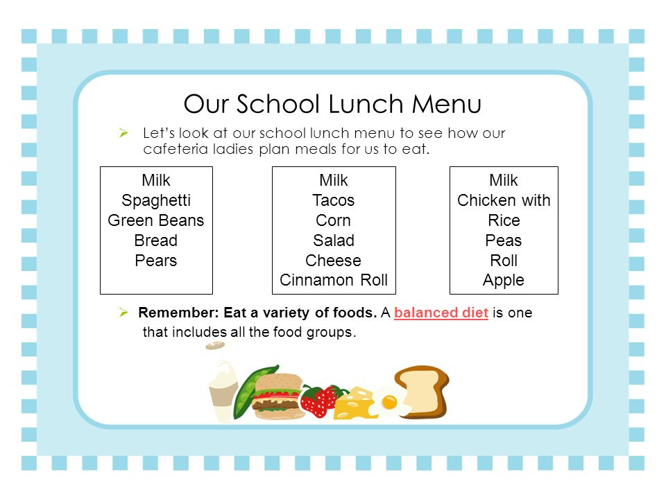 Our School Lunch Menu Milk Spaghetti Green Beans Bread Pears Milk