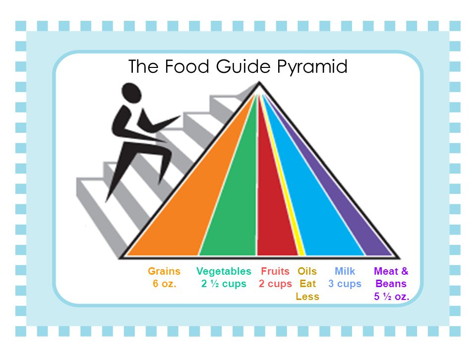 The Food Guide Pyramid Grains 6 oz. Vegetables 2 ½ cups Fruits 2 cups