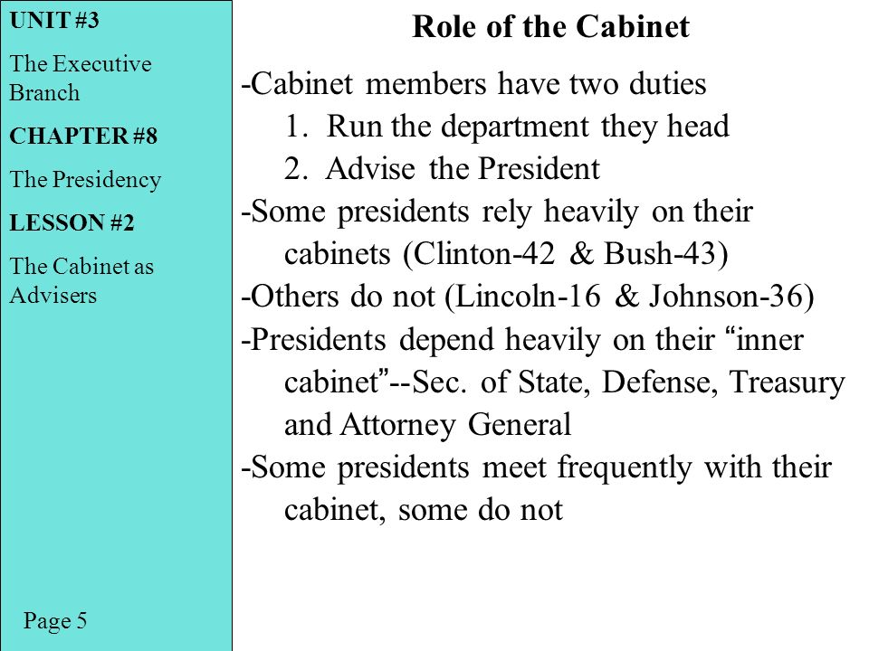 what is the role of cabinet members unit 3 the executive branch chapter 8 the presidency 28313