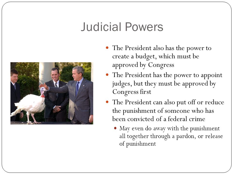 Judicial Powers The President also has the power to create a budget, which must be approved by Congress.