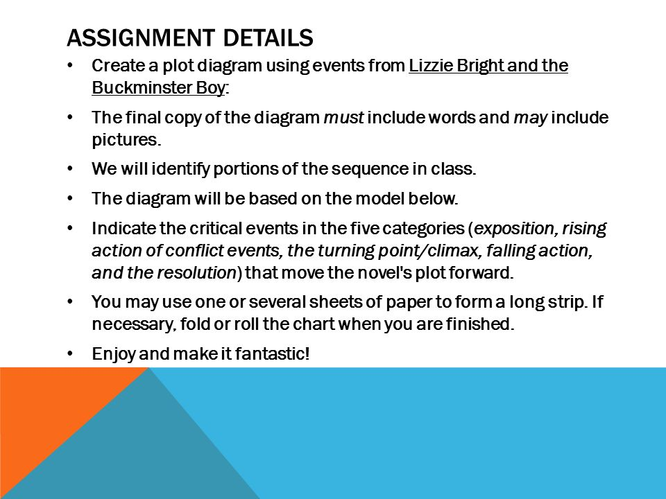 Literary element plot ppt download assignment details create a plot diagram using events from lizzie bright and the buckminster boy ccuart Choice Image