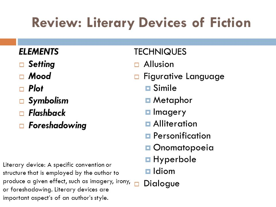 Literary Devices Elements And Techniques Of Fiction Ppt Video