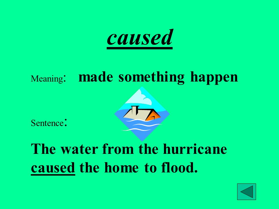 caused The water from the hurricane caused the home to flood.