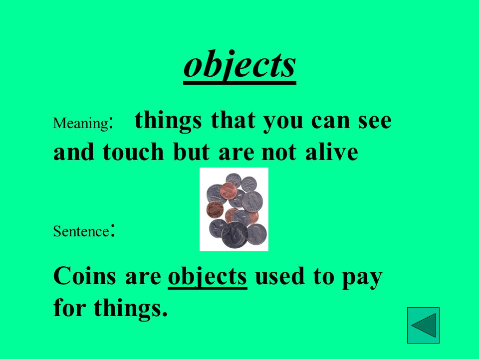 objects Coins are objects used to pay for things.