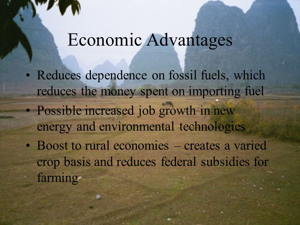 Economic Advantages Reduces dependence on fossil fuels, which reduces the money spent on importing fuel.