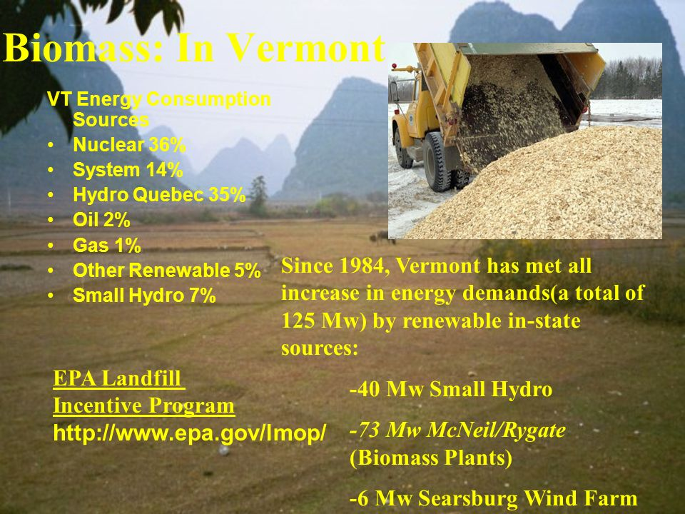 Biomass: In Vermont VT Energy Consumption Sources. Nuclear 36% System 14% Hydro Quebec 35% Oil 2%