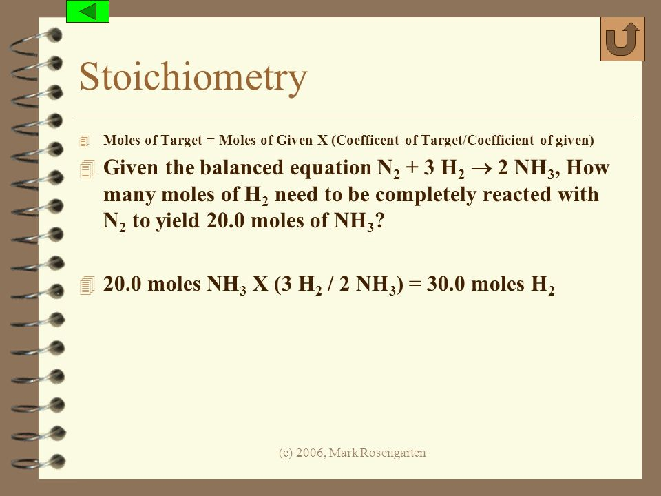 Stoichiometry Moles of Target = Moles of Given X (Coefficent of Target/Coefficient of given)