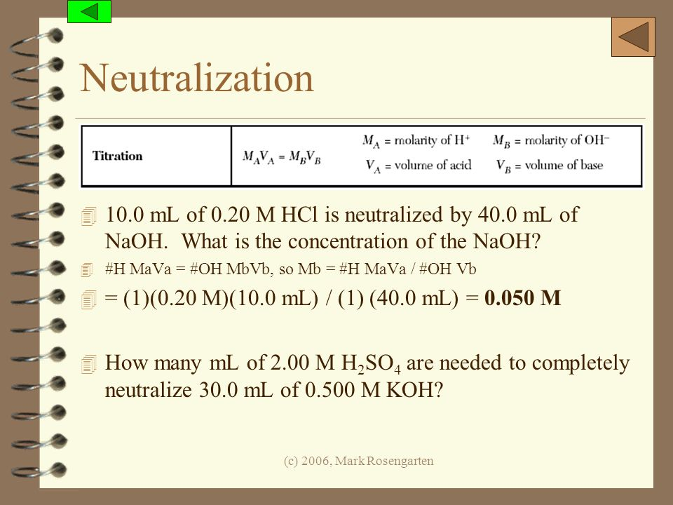 Neutralization 10.0 mL of 0.20 M HCl is neutralized by 40.0 mL of NaOH. What is the concentration of the NaOH