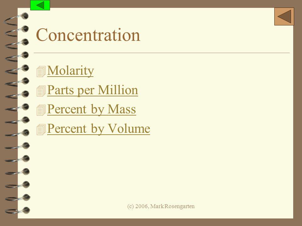 Concentration Molarity Parts per Million Percent by Mass