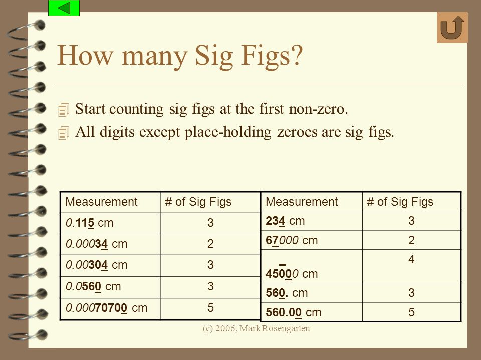 How many Sig Figs Start counting sig figs at the first non-zero.