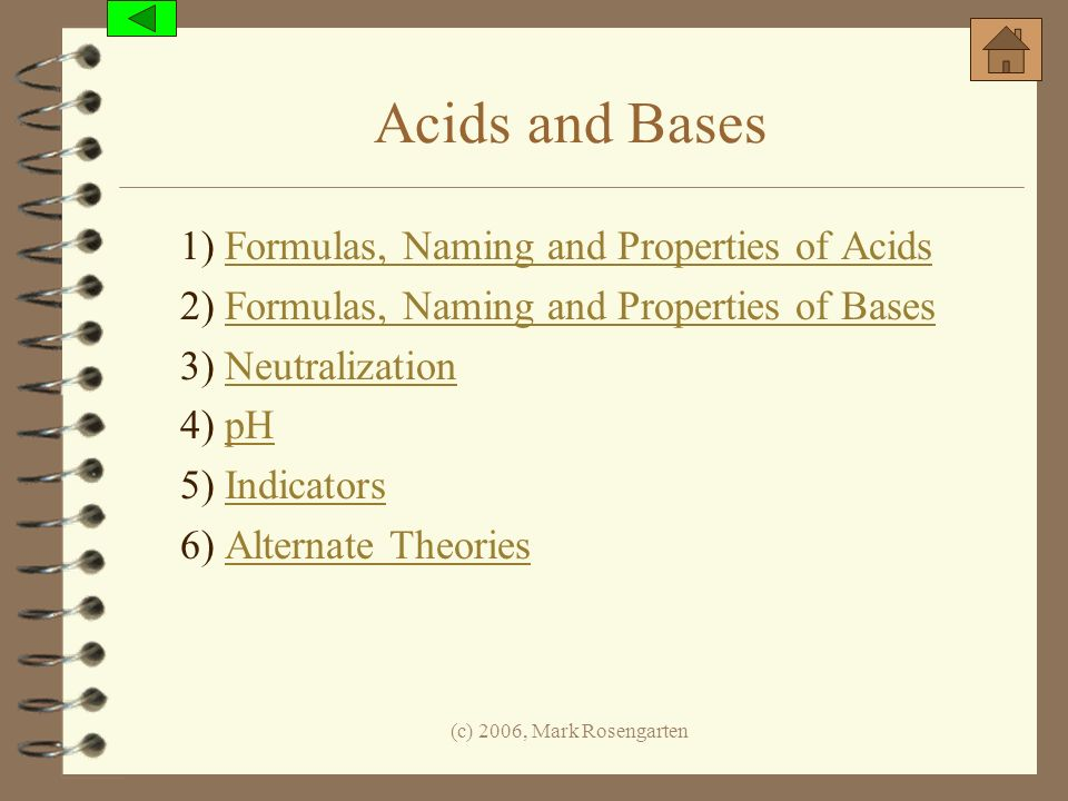 Acids and Bases 1) Formulas, Naming and Properties of Acids