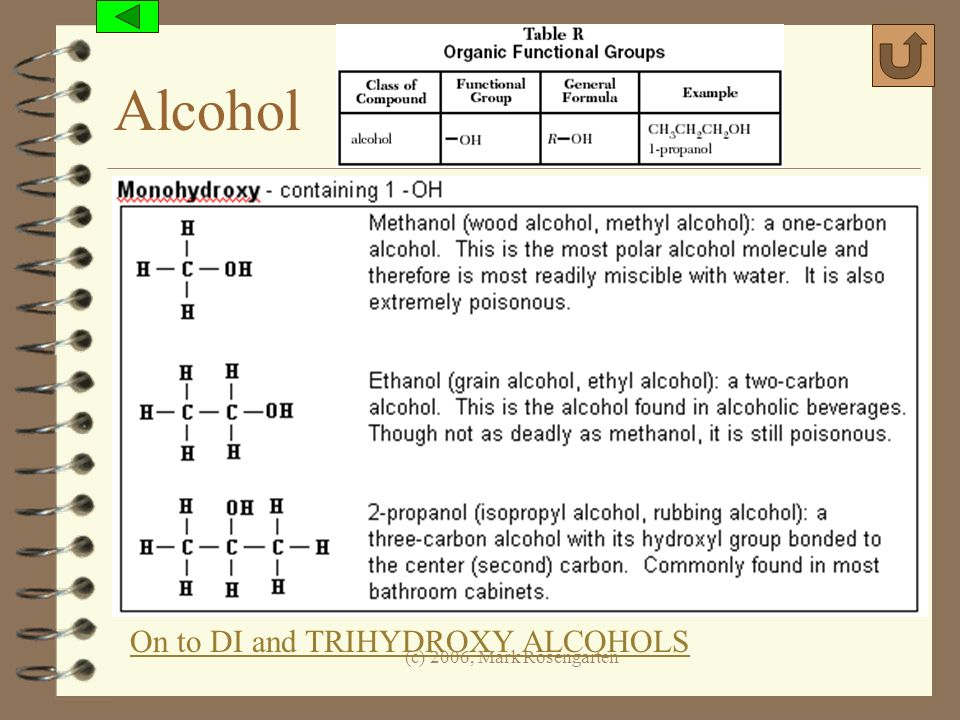 Alcohol On to DI and TRIHYDROXY ALCOHOLS (c) 2006, Mark Rosengarten