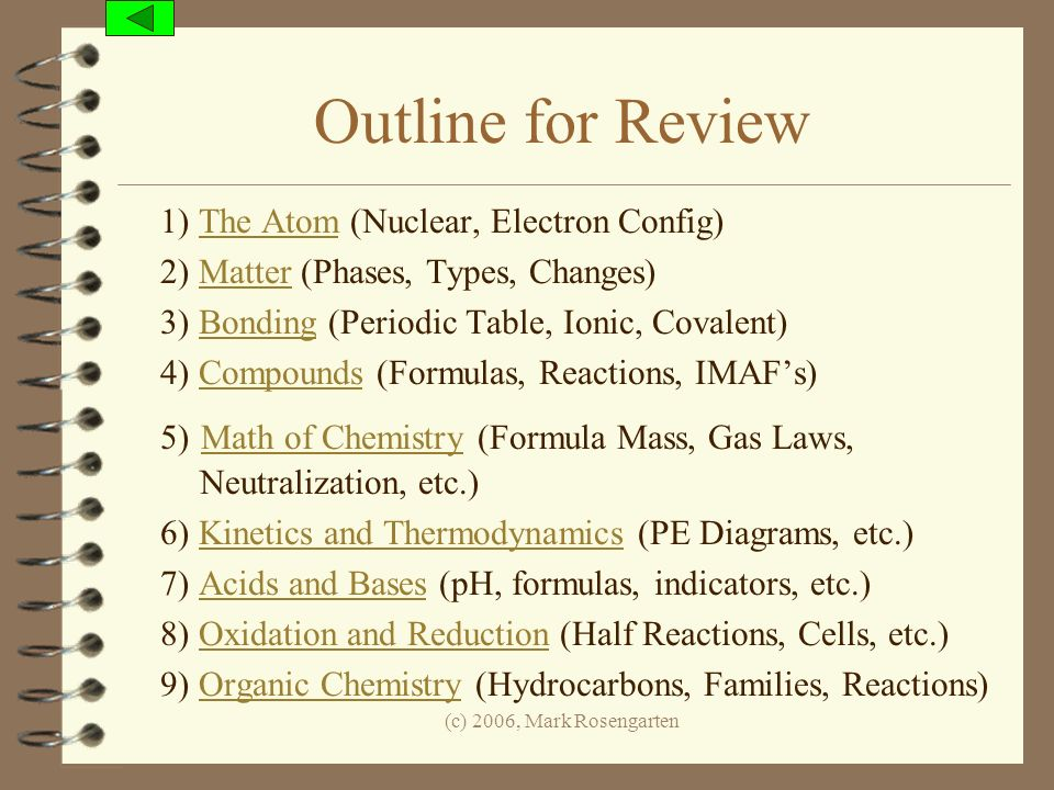 Outline for Review 1) The Atom (Nuclear, Electron Config)