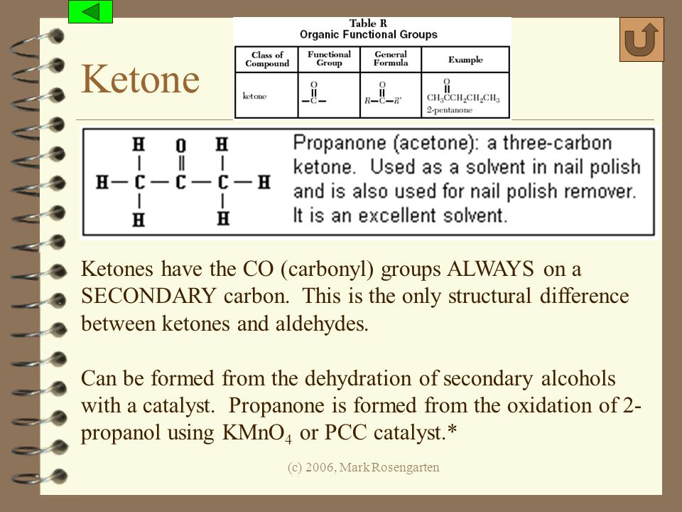 Ketone Ketones have the CO (carbonyl) groups ALWAYS on a SECONDARY carbon. This is the only structural difference between ketones and aldehydes.