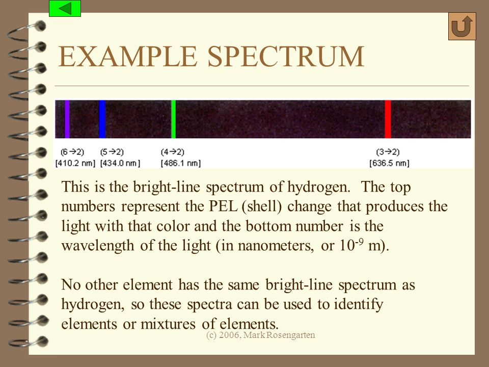 EXAMPLE SPECTRUM This is the bright-line spectrum of hydrogen. The top
