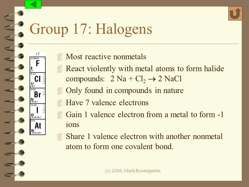 Group 17: Halogens Most reactive nonmetals