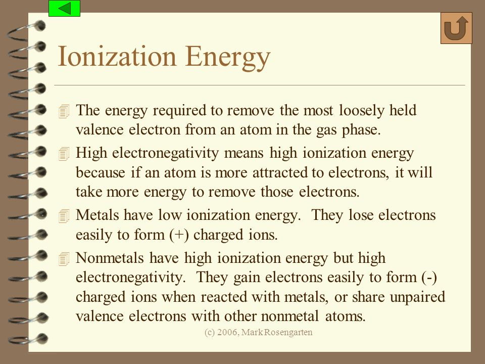 Ionization Energy The energy required to remove the most loosely held valence electron from an atom in the gas phase.