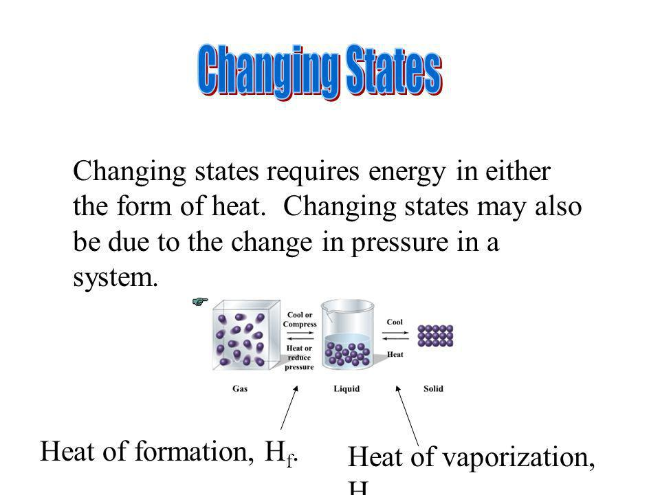 Changing States Changing states requires energy in either the form of heat. Changing states may also be due to the change in pressure in a system.