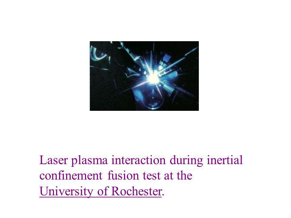 Laser plasma interaction during inertial confinement fusion test at the University of Rochester.