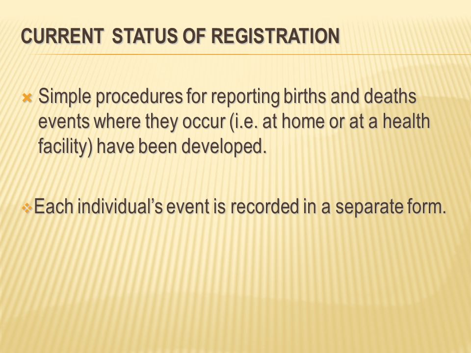 Current Status of Registration