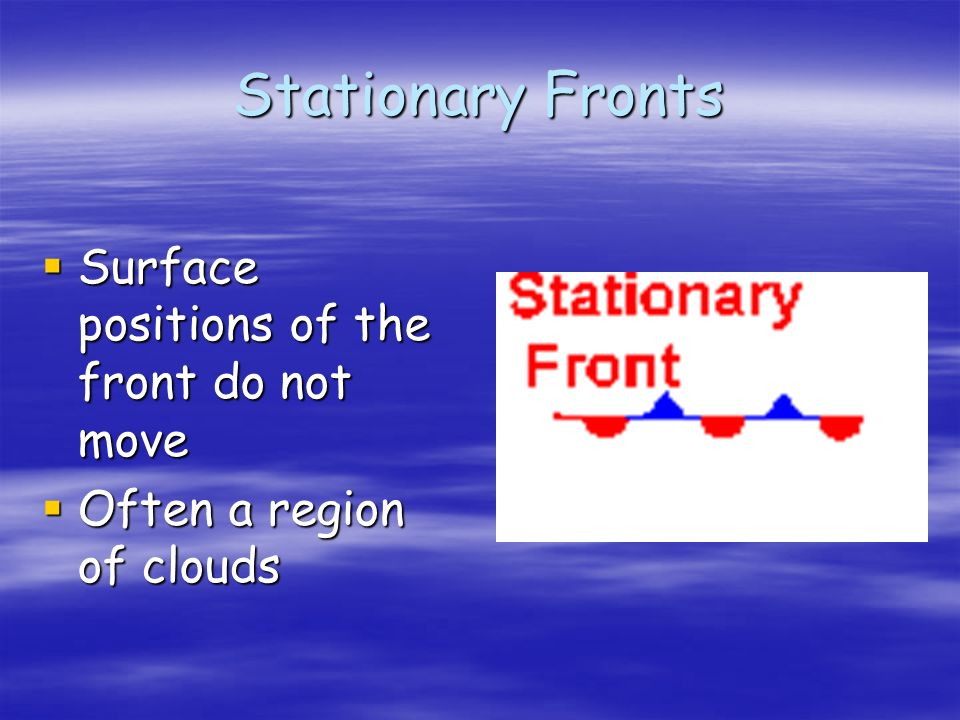 Stationary Fronts Surface positions of the front do not move