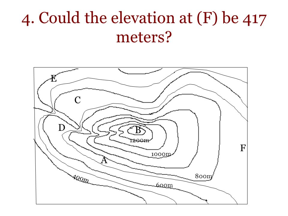 4. Could the elevation at (F) be 417 meters