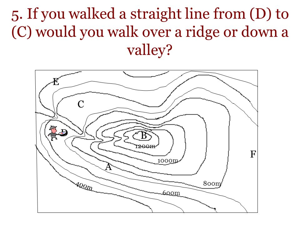 5. If you walked a straight line from (D) to (C) would you walk over a ridge or down a valley