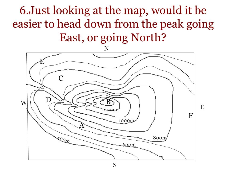 6.Just looking at the map, would it be easier to head down from the peak going East, or going North