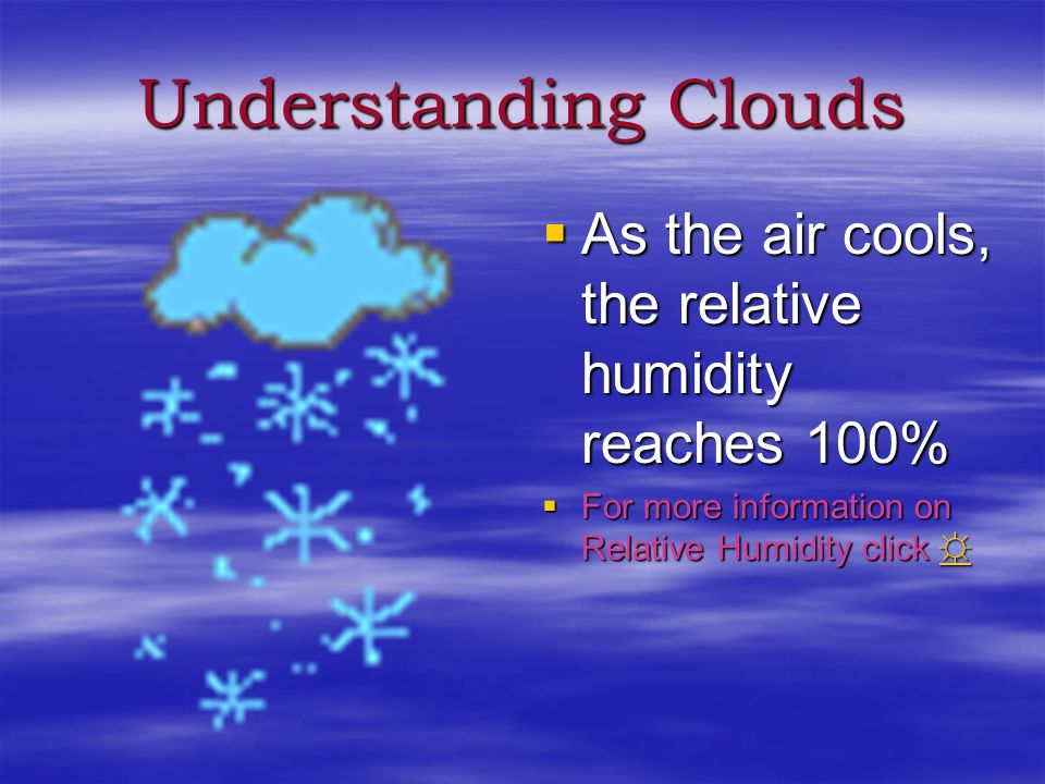Understanding Clouds As the air cools, the relative humidity reaches 100% For more information on Relative Humidity click ☼
