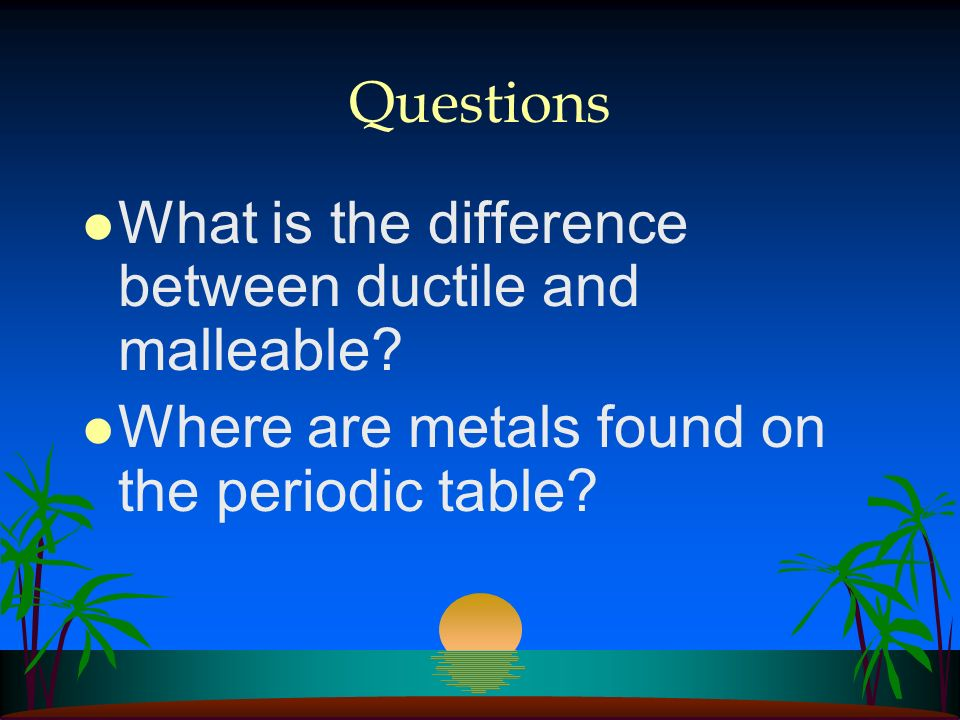 Questions What is the difference between ductile and malleable.