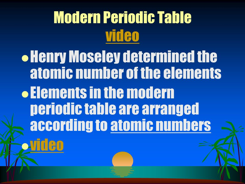 Modern Periodic Table video