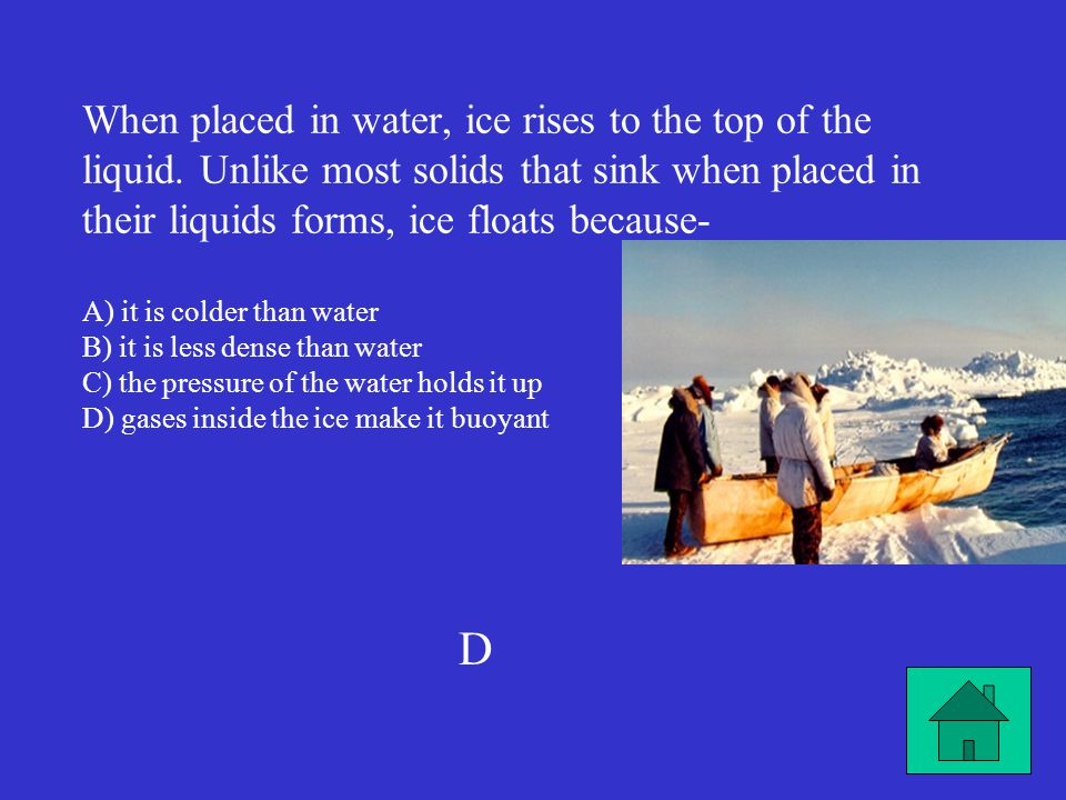 When placed in water, ice rises to the top of the liquid