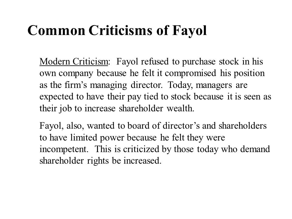 Common Criticisms of Fayol