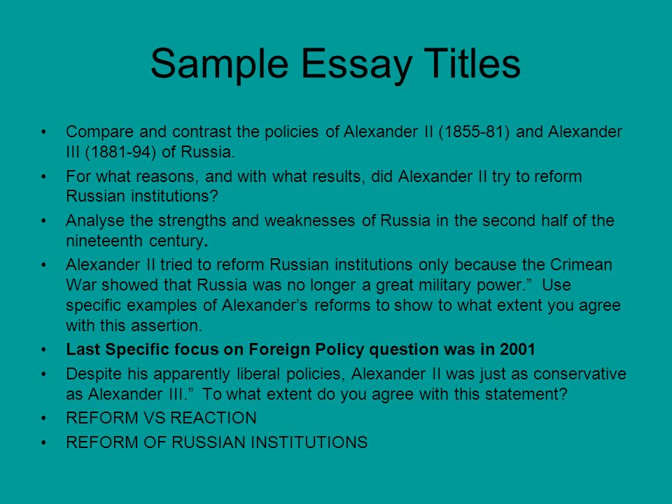 Compare contrast essay titles