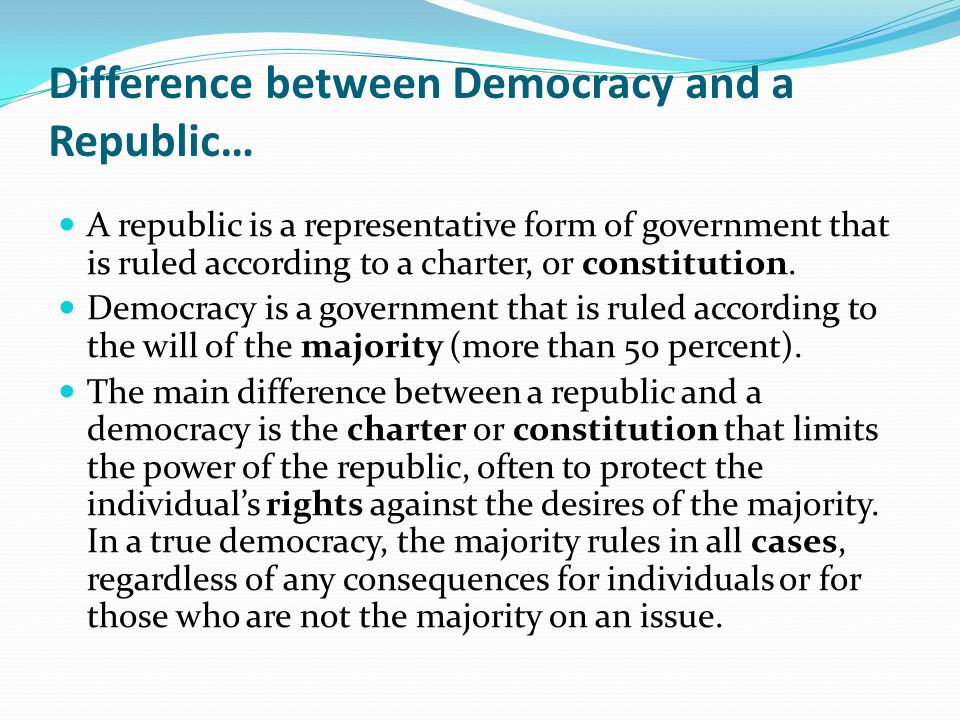 Difference between Democracy and a Republic…