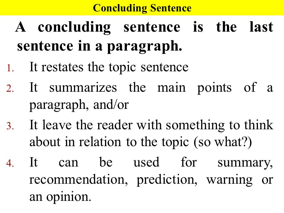 what is a concluding sentence