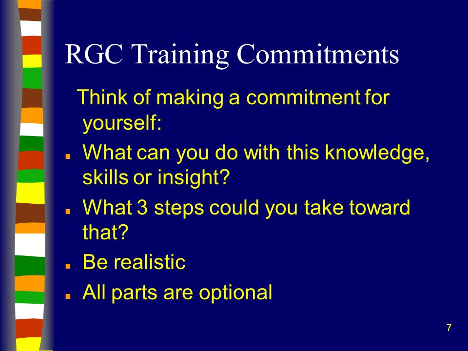 RGC Training Commitments