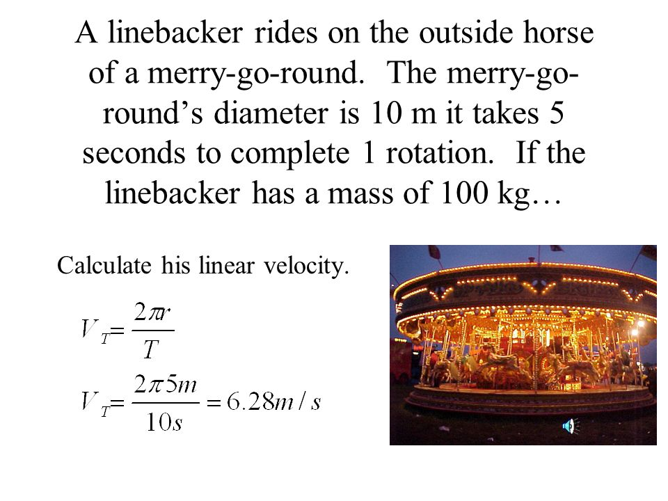 A linebacker rides on the outside horse of a merry-go-round