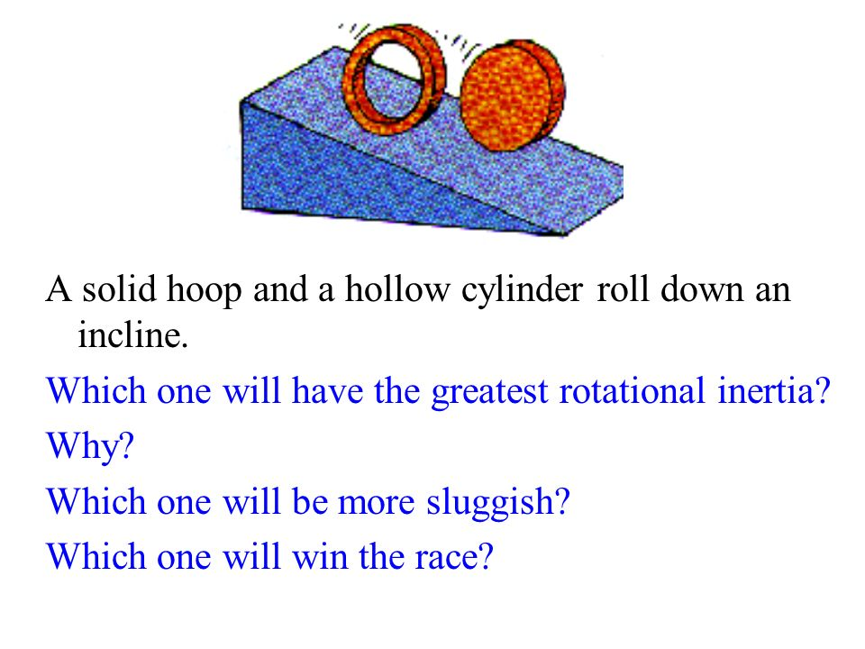 A solid hoop and a hollow cylinder roll down an incline.