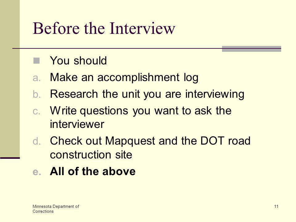 Before the Interview You should Make an accomplishment log