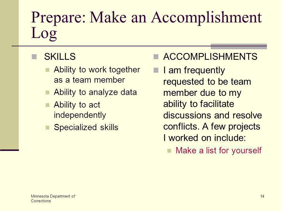 Prepare: Make an Accomplishment Log