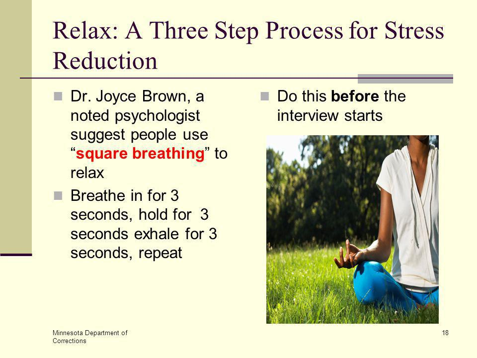Relax: A Three Step Process for Stress Reduction