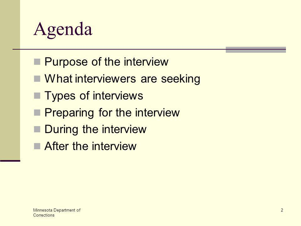 Agenda Purpose of the interview What interviewers are seeking