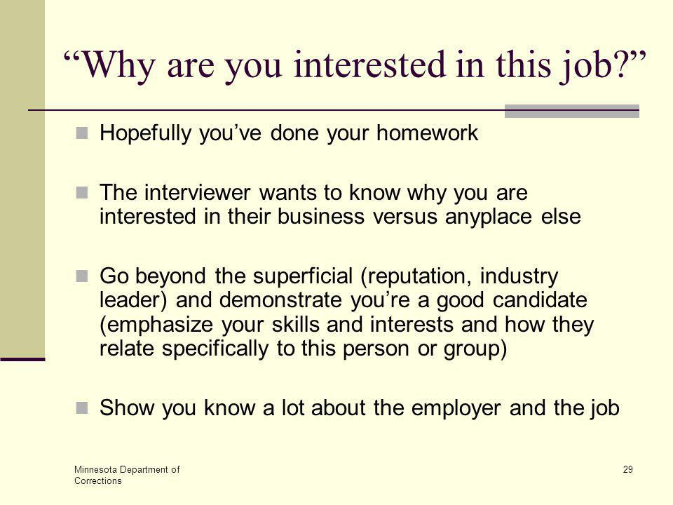 why are you interested in this position