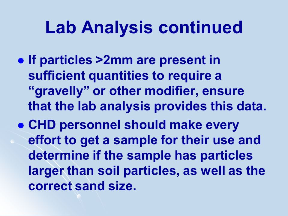 Lab Analysis continued