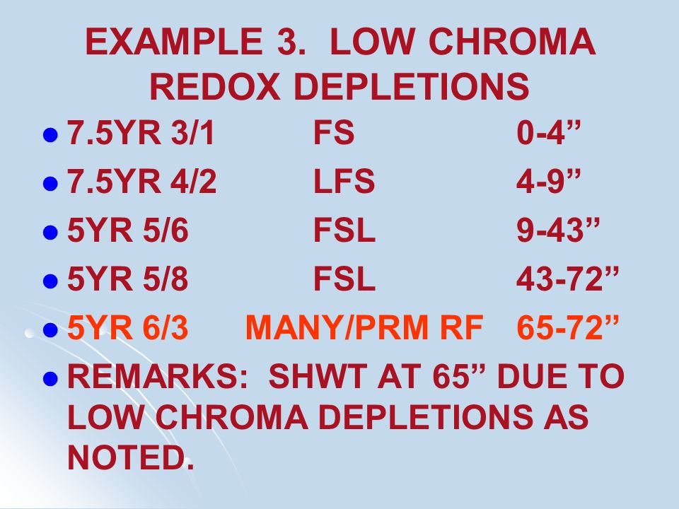 EXAMPLE 3. LOW CHROMA REDOX DEPLETIONS
