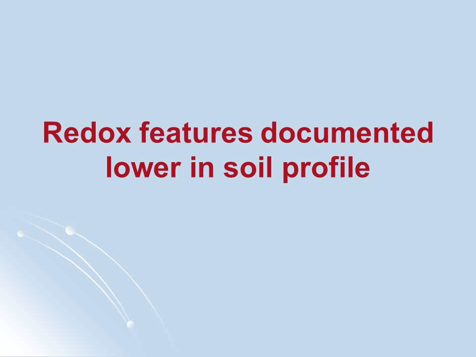 Redox features documented lower in soil profile