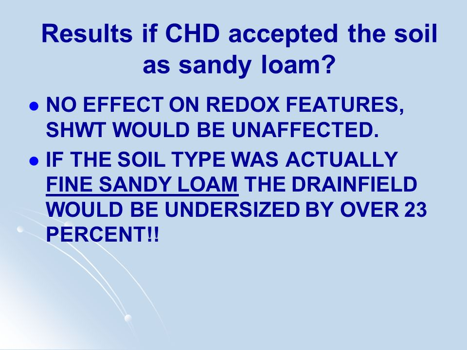 Results if CHD accepted the soil as sandy loam